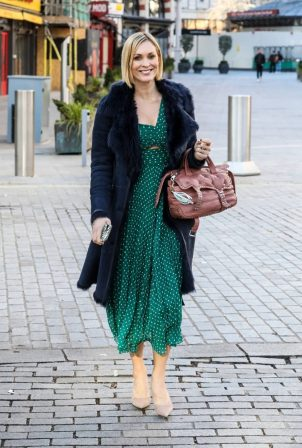 Jenni Falconer - In a green maxi dress at the Global Radio Studios in London