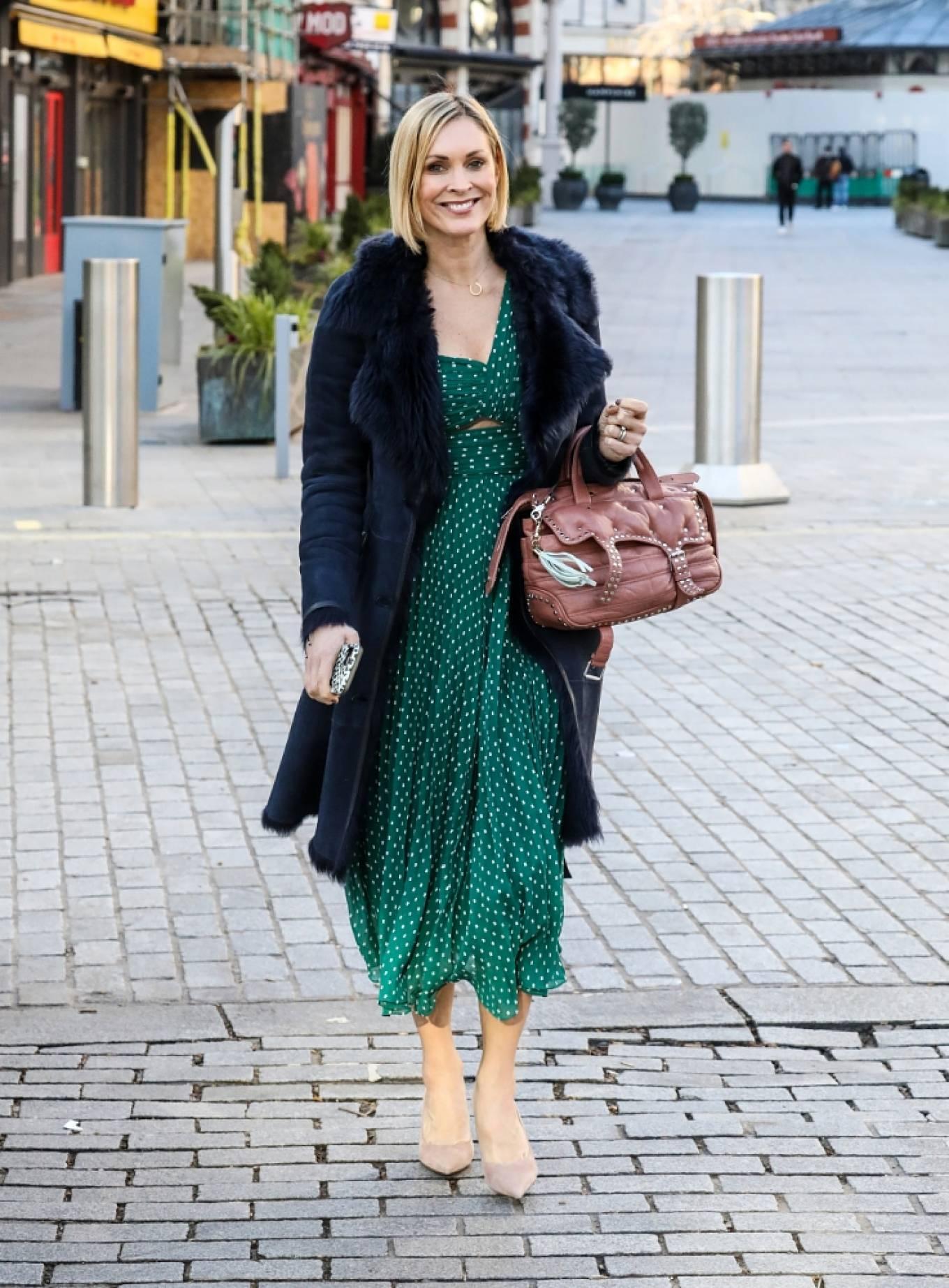 Jenni Falconer - In a green maxi dress at the Global Radio Studios in London