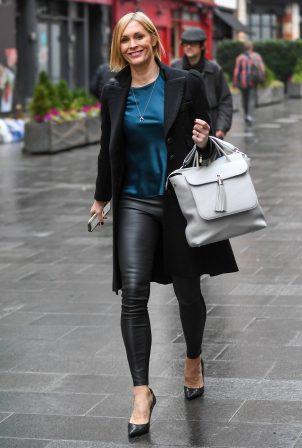 Jenni Falconer -In a leather leggings leaving Global Studios in London