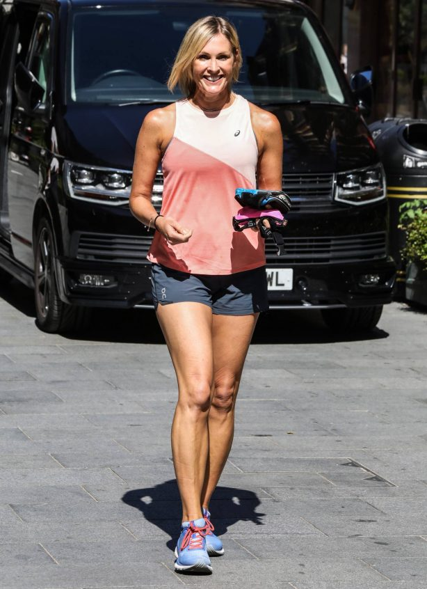 Jenni Falconer - In a shorts at Global Radio Studios in London