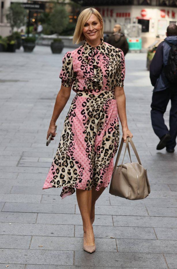 Jenni Falconer - In animal print dress in London