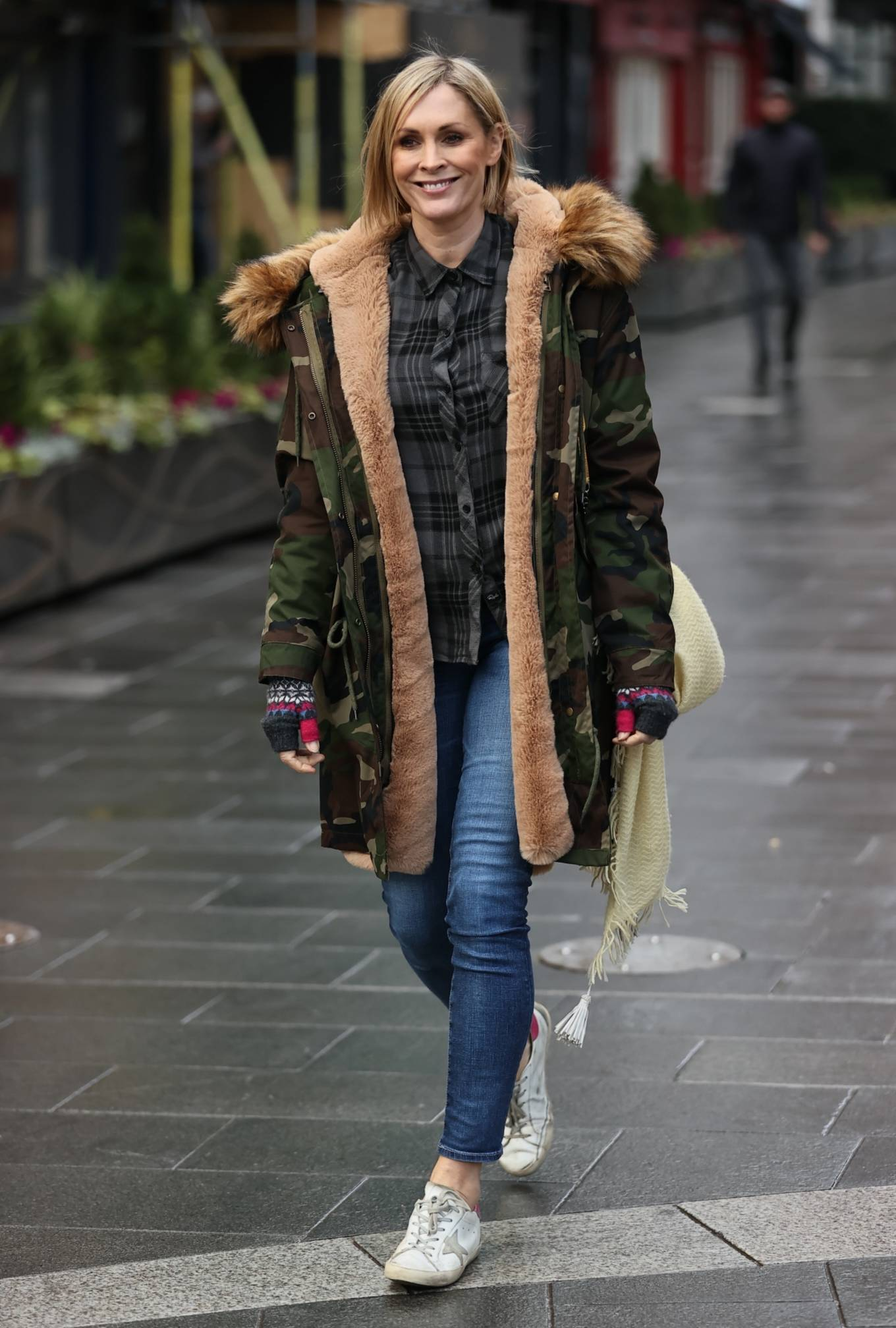 Jenni Falconer - In camouflage coat at Smooth radio in London