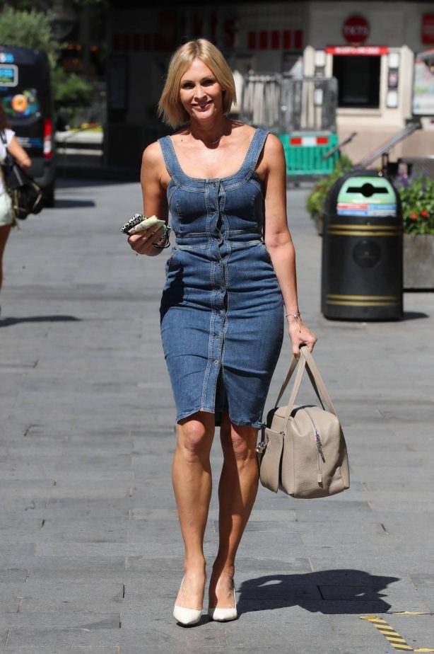 Jenni Falconer in Denim Dress - Exits the Smooth Radio Studios in London