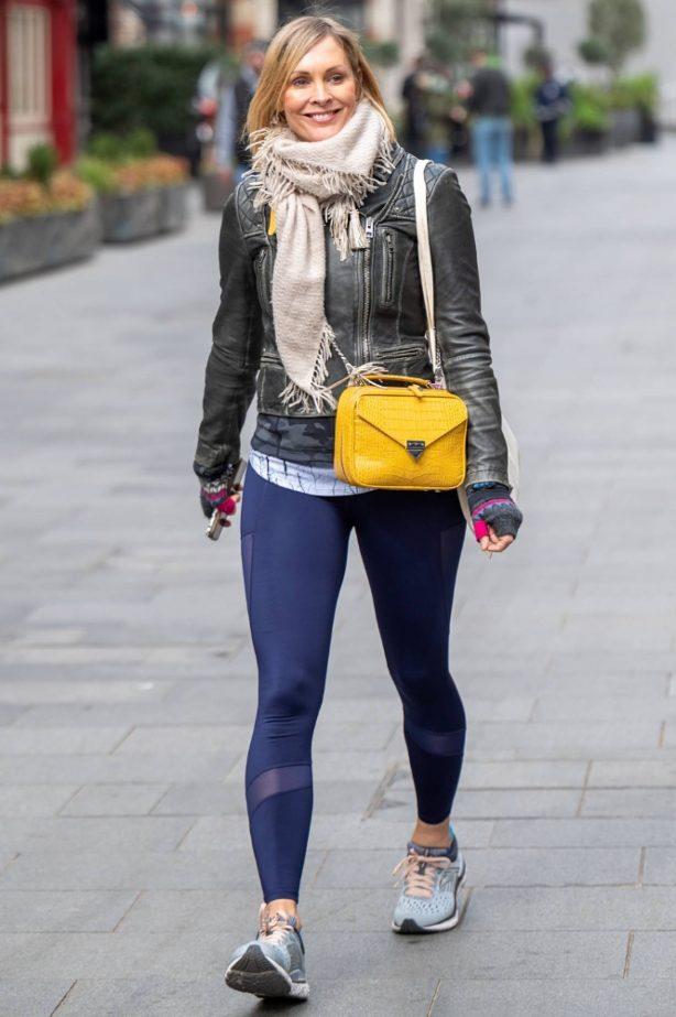 Jenni Falconer - In legging leaving Global Studios in London