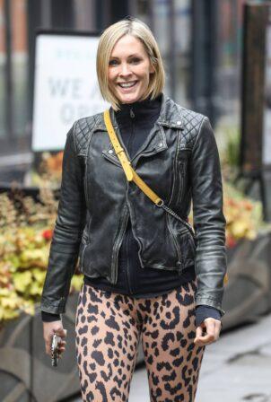 Jenni Falconer - In leopard print leggings at the Global Radio Studios in London