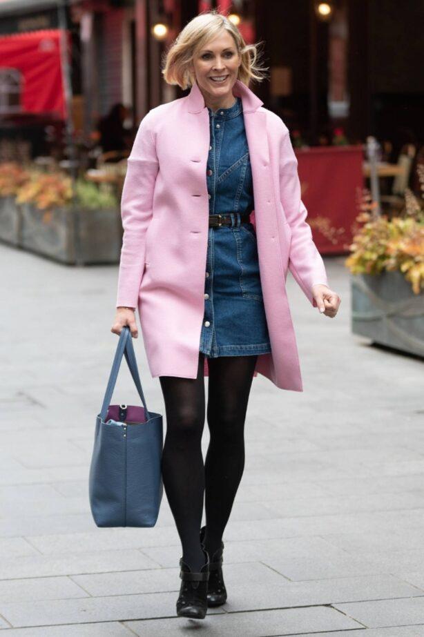 Jenni Falconer - In pink coat arriving at Global Studios in London