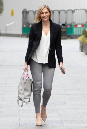 Jenni Falconer - In skinny denim at Smooth Radio in London