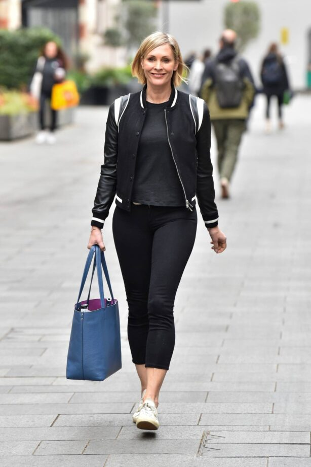 Jenni Falconer - leaving the Global studios after her Smooth Radio show in London