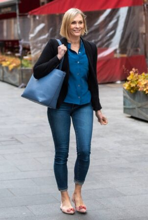 Jenni Falconer - Seen leaving Global Studios in skinny tight denim in London