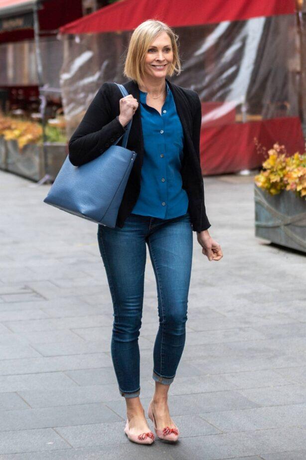 Jenni Falconer - Seen leaving Global Studios in skinny tight denim in London