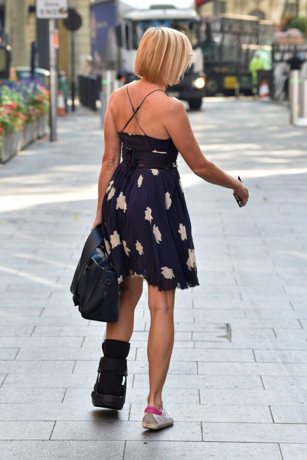 Jenni Falconer - Spotted with a fracture walking boot at the Global Radio Studios in Central London
