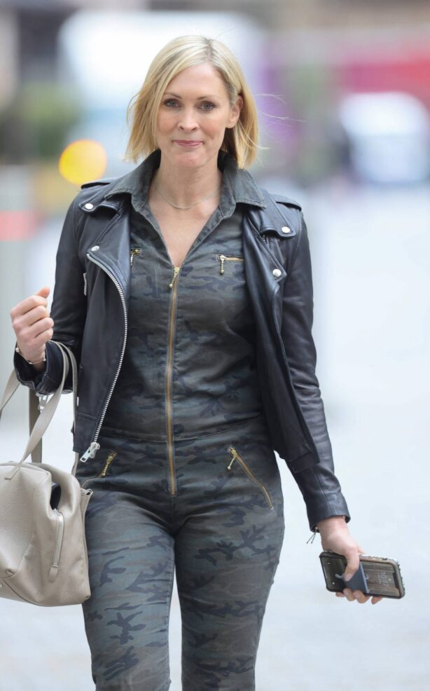 Jenni Falconer - wearing a camouflage jump suit at Smooth radio in London