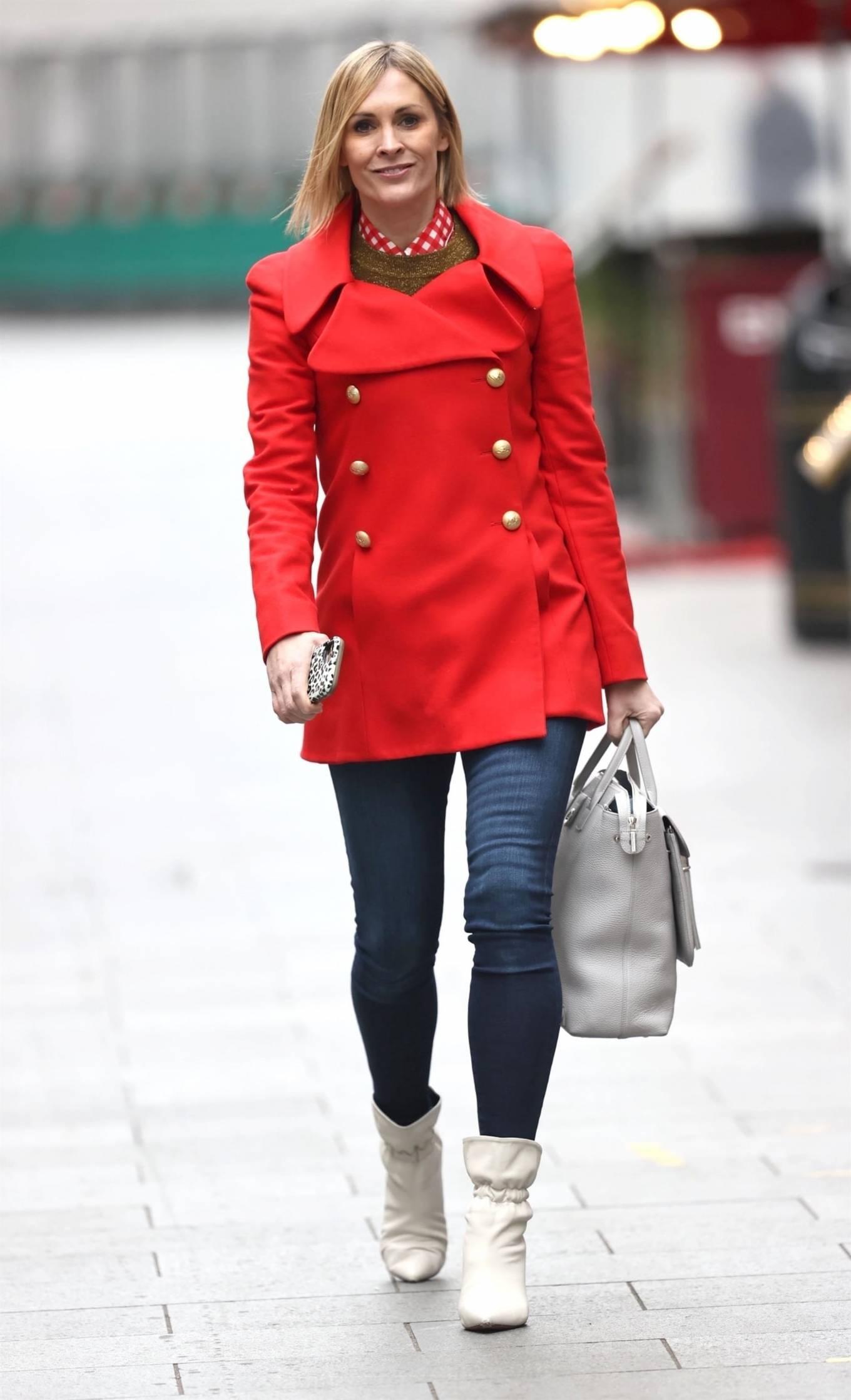 Jenni Falconer - Wears striking read coat at the Heart Radio Studios in London