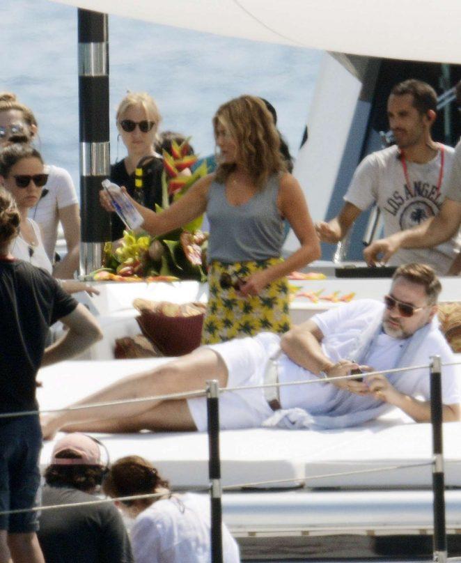 Jennifer Aniston - Filming 'Murder Mystery' in Santa Margherita Ligure