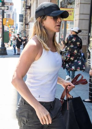 Jennifer Aniston in Black Pants out in New York City