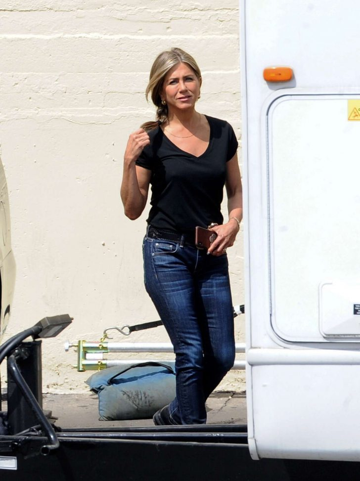 Jennifer Aniston in Black T-Shirt and Jeans - Out in Los Angeles
