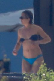 Jennifer Aniston in Blue and Black Bikini in Cabo San Lucas