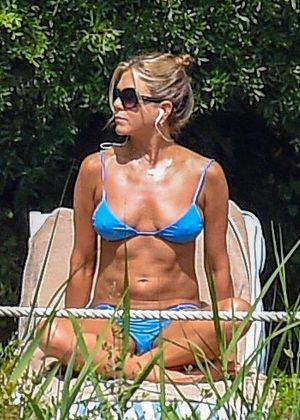 Jennifer Aniston in Blue Bikini at the pool in Portofino