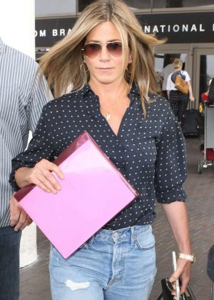 Jennifer Aniston in Jeans at LAX airport in Los Angeles