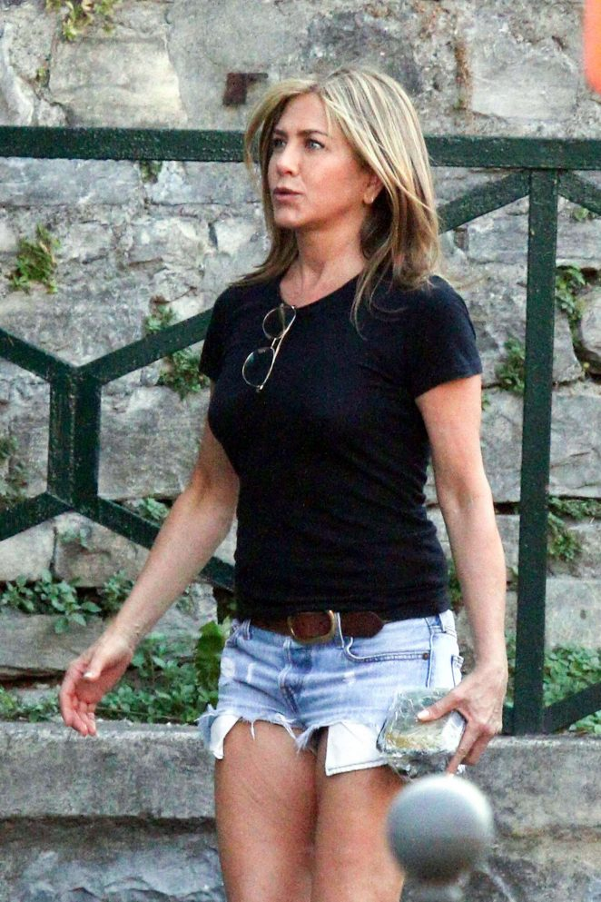 Jennifer Aniston in Jeans Shorts - Leaving the set of 'Murder Mystery' in Lake Como