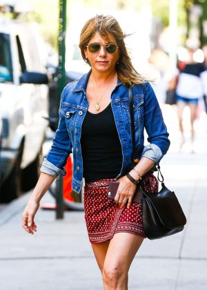 Jennifer Aniston in Red Mini Skirt out in New York