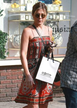 Jennifer Aniston in Strapless Dress out in New York