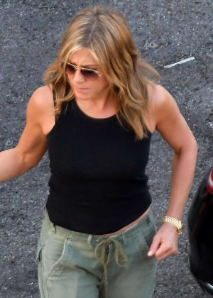 Jennifer Aniston - Leaving the set of MURDER MYSTERY in Como