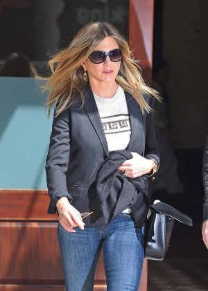 Jennifer Aniston in Tight Jeans Out in NYC