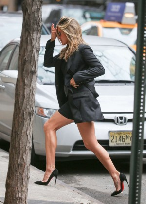 Jennifer Aniston in Mini Dress Out in New York City