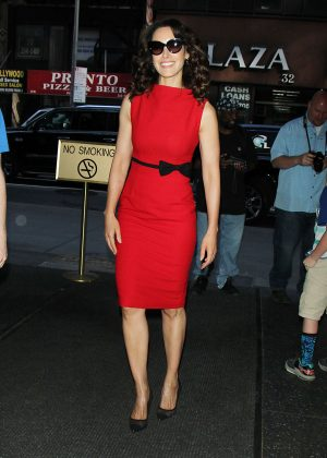 Jennifer Beals in Red Dress at NBC Studios in New York