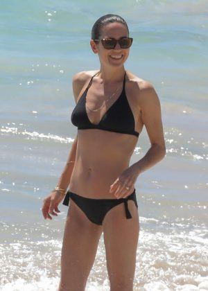 Jennifer Connelly in Black Bikini at a beach in St Barts