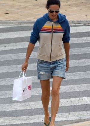 Jennifer Connelly in Jeans Shorts Shopping in Ibiza
