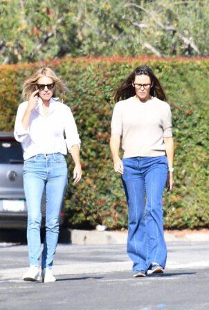 Jennifer Garner - enjoys a walk with a friend in Brentwood