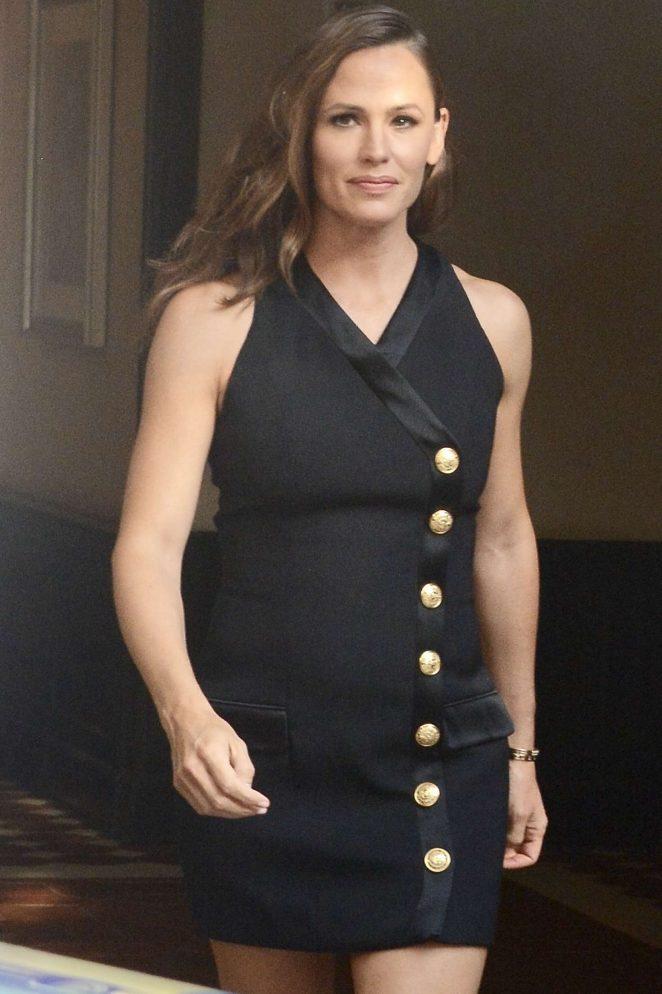 Jennifer Garner in Black Mini Dress - Leaves her hotel in New York