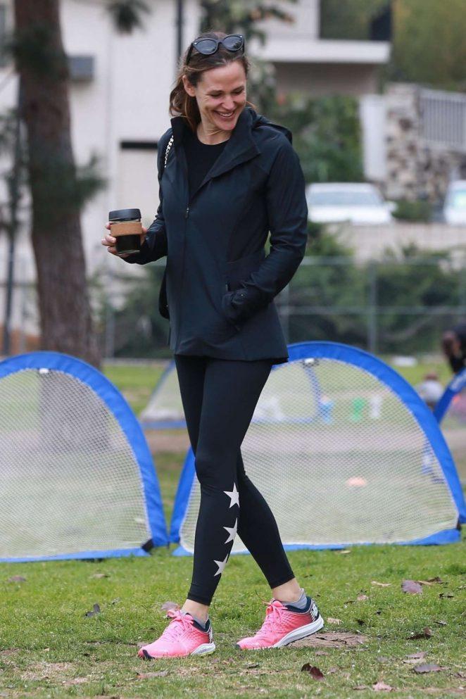 Jennifer Garner in Black Spandex Out in Brentwood