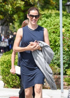 Jennifer Garner in Blue Dress Out in West Hollywood
