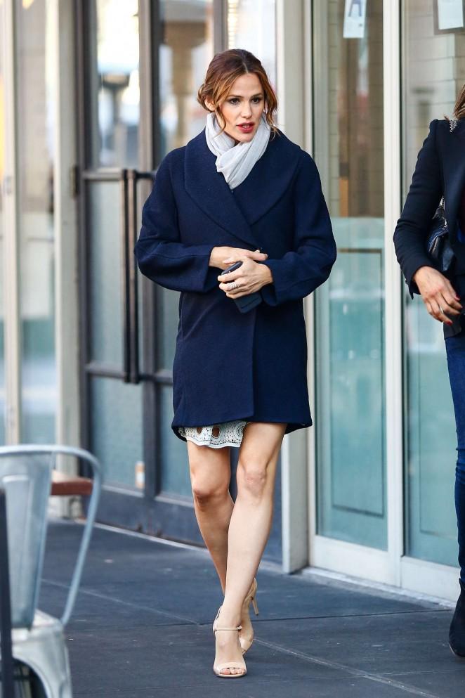 Jennifer Garner in Blue Mini Coat out in Manhattan