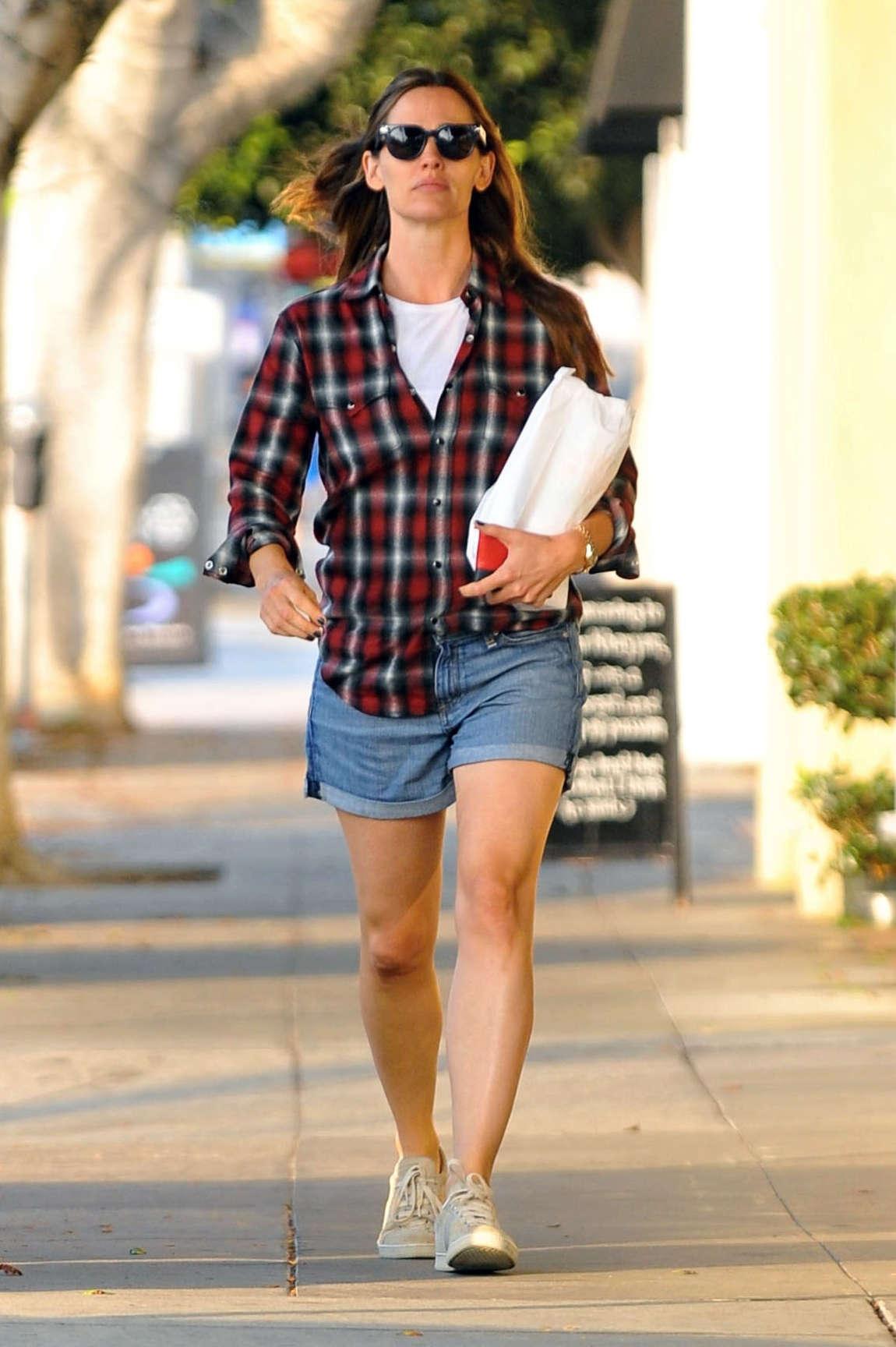 Jennifer Garner in Jeans Shorts out in Los Angeles