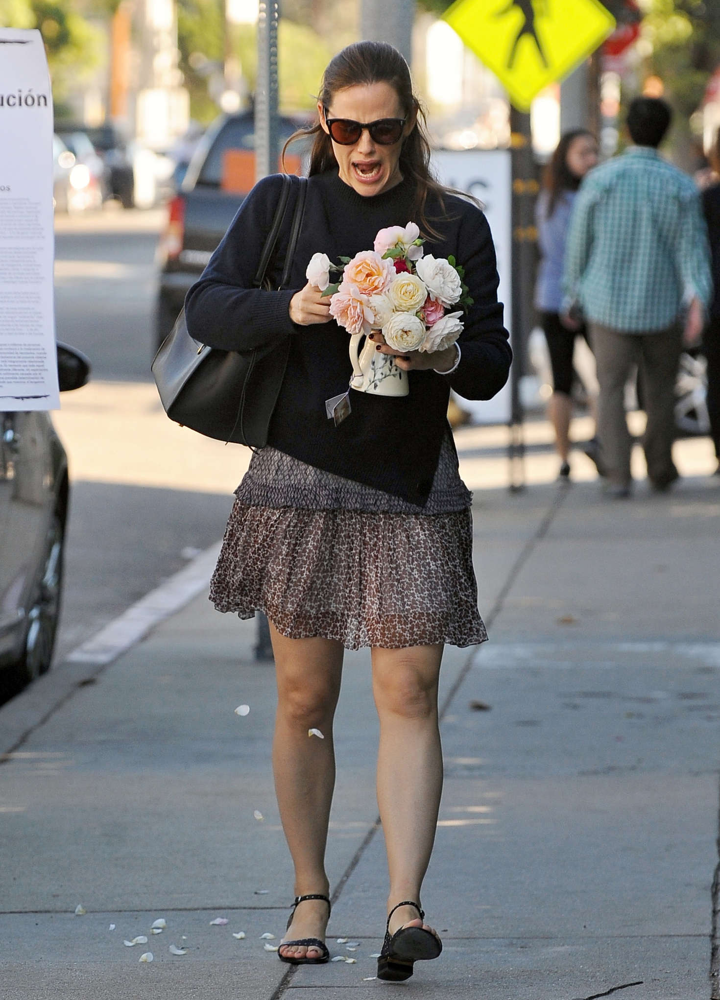 Jennifer Garner in Mini Skirt out in Los Angeles