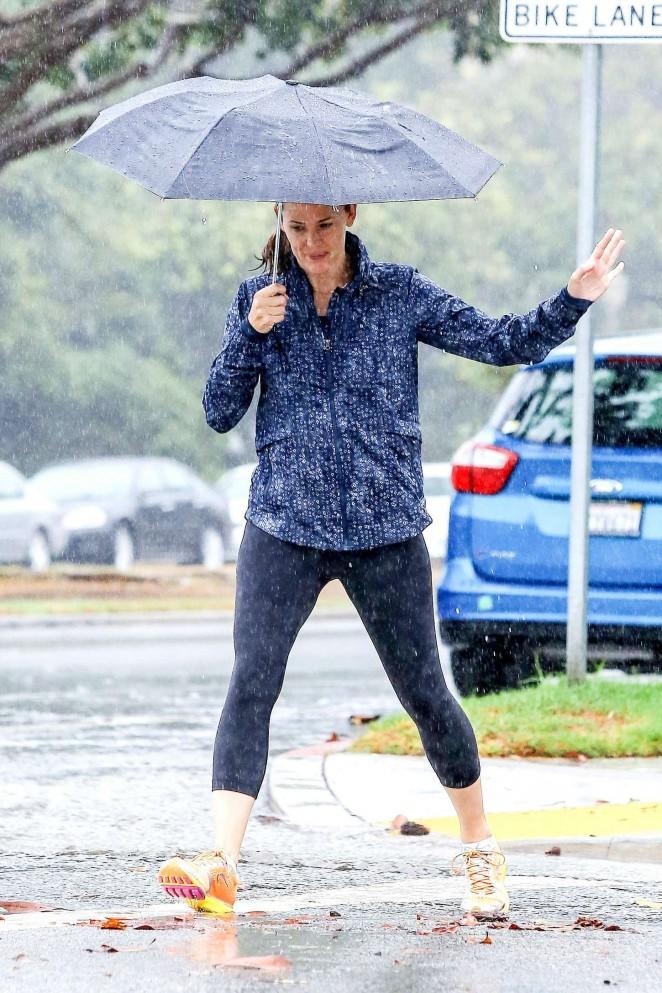 Jennifer Garner in Tights out in Brentwood
