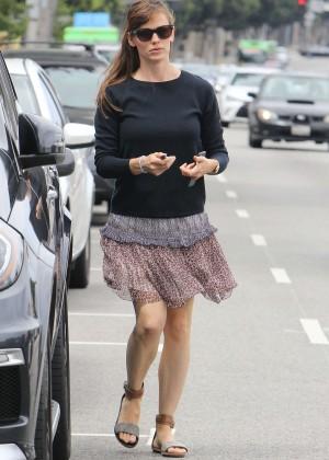 Jennifer Garner in Mini Skirt Out in Brentwood
