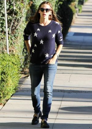 Jennifer Garner wearing a starry sweater out in Los Angeles