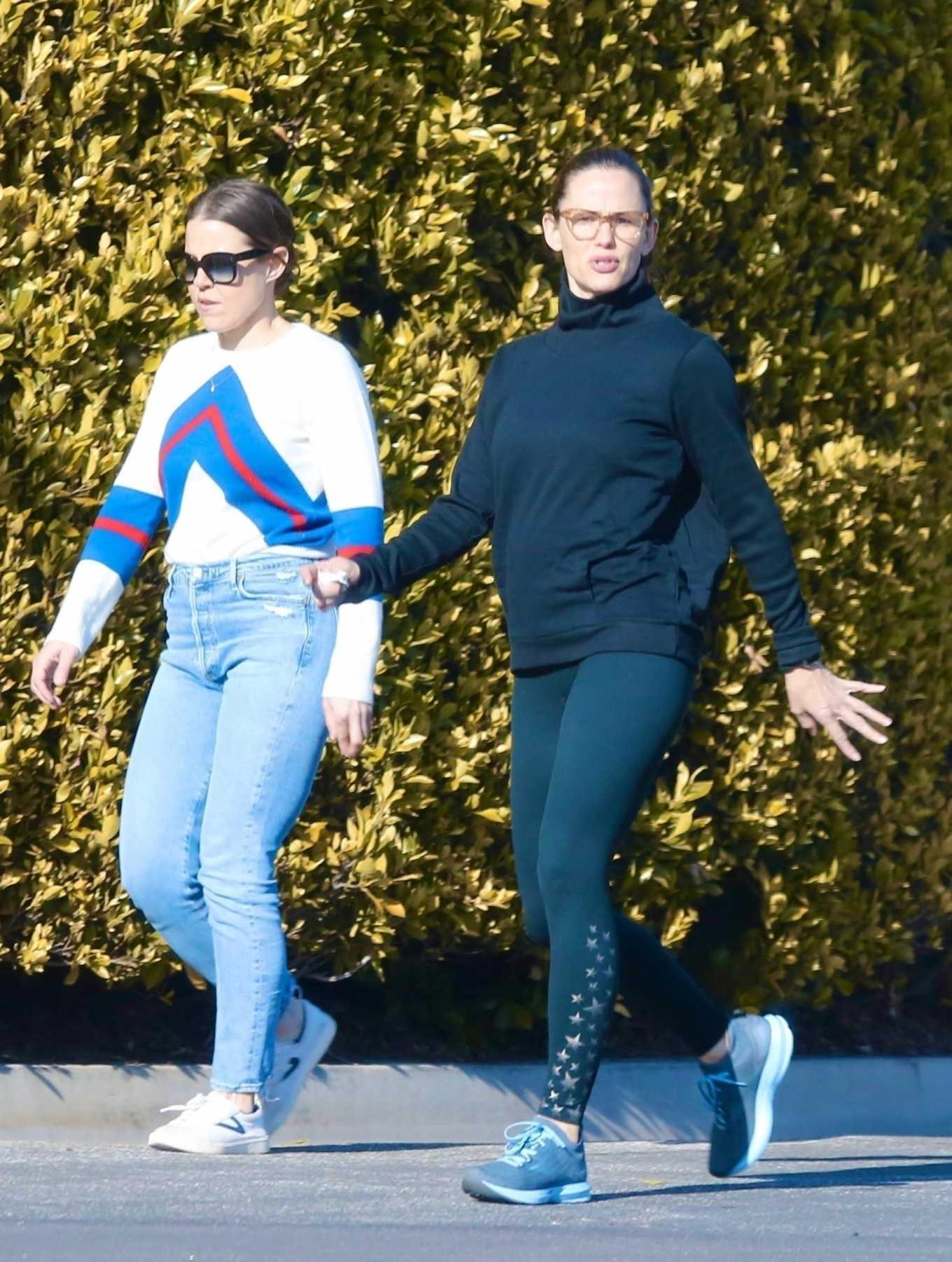 Jennifer Garner 2020 : Jennifer Garner with a friend out for a power walk session in Pacific Palisades-20