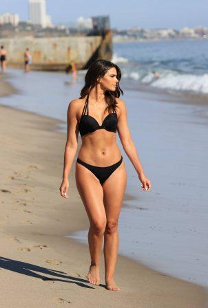 Jennifer Lahmers - In a black bikini on the beach in Santa Monica