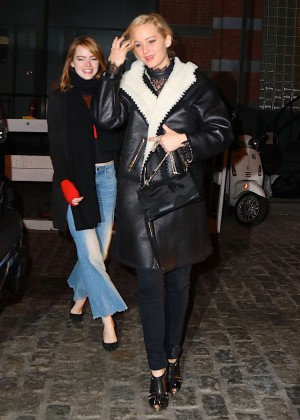 Jennifer Lawrence and Emma Stone Out in Cosme in NYC