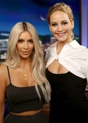 Jennifer Lawrence and Kim Kardashian at 'Jimmy Kimmel Live!' in Hollywood