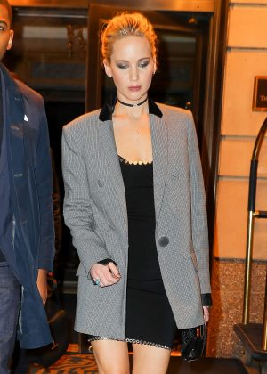 Jennifer Lawrence in Black Mini Dress out in New York City