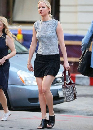 Jennifer Lawrence in Black Mini Skirt Out in NYC