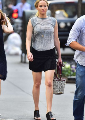 Jennifer Lawrence in Black Mini Skirt Out and about in NYC ...
