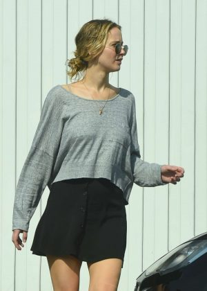 Jennifer Lawrence in Black Mini Skirt - Out in Los Angeles